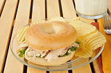 Chicken sandwich on a bagel