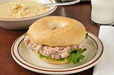 Tuna sandwich on a bagel with soup