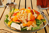 Salad with tropical fruit and chicken