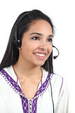 Beautiful arab worker woman working as phone operator