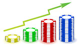 poker chips profits graph illustration