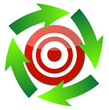 cursor arrow around target illustration