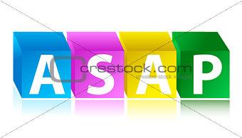 asap color cubes urgency concept