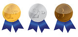 Three ribbon of Achievement, gold, silver and bronze illustratio