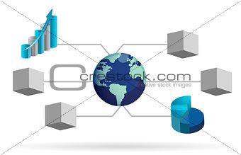 box diagram illustration design over white background