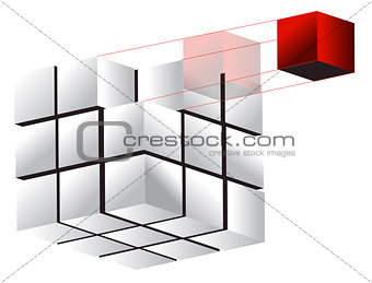 3d cube illustration design over a white background