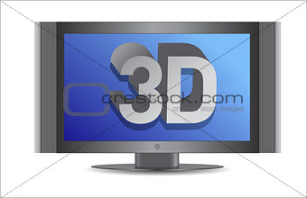 3d tv illustration design over a white background