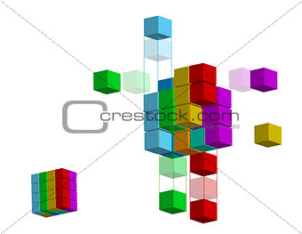 3D illustration shape with different colors, over a white backgr
