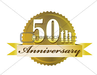50 years anniversary golden seal with ribbon. illustration desig