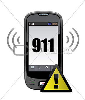911 emergency call illustration design over white