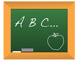 Illustration of a chalkboard with the headline a b c...