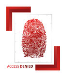 illustration of access denied sign with thumb on isolated backgr