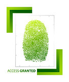 illustration of access granted sign with thumb on isolated backg