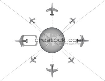 Airplane destination design illustration graph