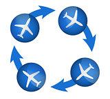 airplane arrow cycle illustration design
