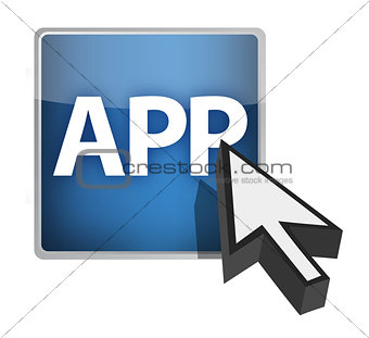 app button and cursor illustration design over white