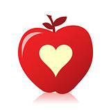 image of a beautiful red apple with a heart