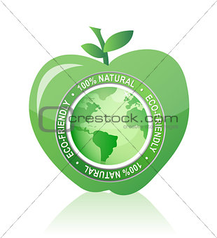 Apple Label 100% natural eco friendly seal illustration