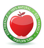 100% natural apple seal illustration design over white