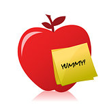 red apple with an yummy illustration design over white