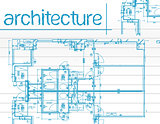 Illustration of architecture Blueprints over notepaper.