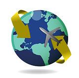 Airplane flying around the globe
