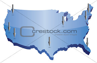 US map pointing locations illustration isolated over a white bac