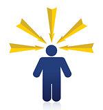 Orange arrows around a head of a man