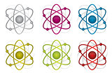 colorful atoms illustration design over white background