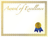 Illustration of a certificate. Award of Excellence with golden r