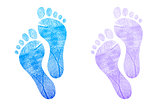 Baby footprint blue, pink illustration design on white