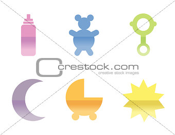 Illustrations of different baby icons, that can be used as a sym