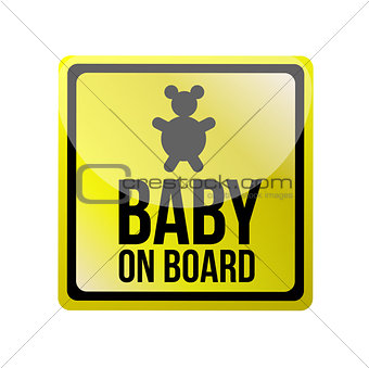 baby on board sign illustration design