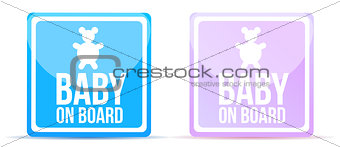 baby on board sign illustration design on white