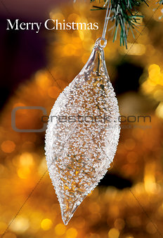Christmas baubles on background of defocused  lights