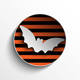 Halloween Bat Circle Frame Pumpkin Button