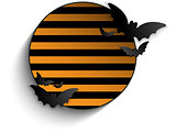Halloween Bat Circle Frame Striped Background Vector