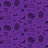 Halloween Ghost Bat Pumpkin Seamless Pattern Background Purple