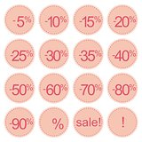 Retro vector pink sale icon set or price tag stickers.