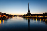 Eiffel Tower and d'Iena Bridge at Dawn, Paris, France