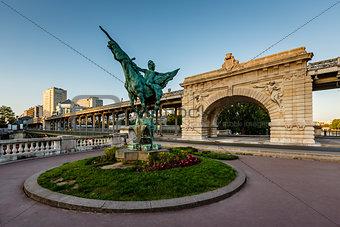 France Reborn Statue on Bir-Hakeim Bridge at Dawn, Paris, France