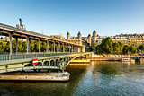 Bir-Hakeim Bridge and Seine River in the Morning, Paris, France
