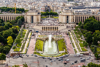 Aerial View on Trocadero Fountains From the Eiffel Tower, Paris,