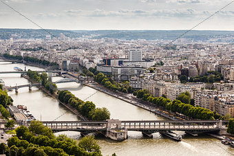 Aerial View on River Seine and Pont de Bir-Hakeim from the Eiffe