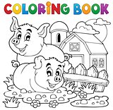 Coloring book pig theme 2
