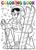 Coloring book skiing theme 1