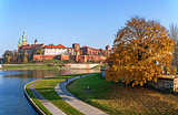 Wawel Castle and Vistula River in Fall, Cracow Poland