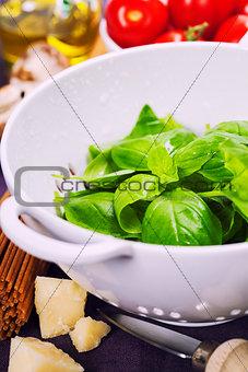 Fresh basil and ingredients