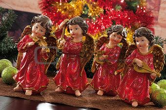 Christmas baubles on background of defocused  lights