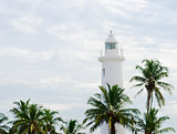 White lighthouse under tropical palms
